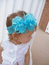 Turquoise blue Organza hair bow headband 4 inch toddler clip barrette Cici's