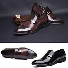 Mens Slip On Faux Patent Leather Dress Formal Pointed Toe Wedding Casual Shoes