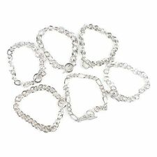 6x Wholesale Charms 20cm Brass Twist Strong Link Chain Bracelets Fit Clip Charms