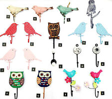 VINTAGE STYLE METAL & WOODEN WALL HOOKS OWL BIRD WALL HOOK DECORATION KEY HOOK
