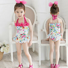 Cute Baby Kids Girls Summer Beach Floral Swimwear One-piece Swimming Costumes