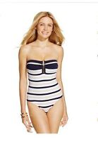 NWT MICHAEL Michael Kors Striped Zip-Front One-Piece Swimsuit 6 8 Navy $102