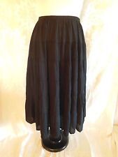 We Be Bop Women's Plus Size Black Tiered Skirt Crinkle Rayon  NEW