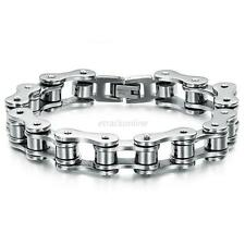 Stylish Men's Biker Stainless Steel Rubber Silver Bike Bicycle Chain Bracelet
