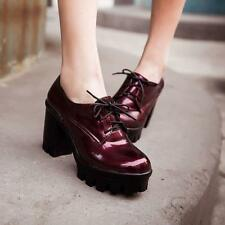 Punk Platform Shoes Womens Block Chunky Heel Lace Up Riding Ankle Bootie Air0036