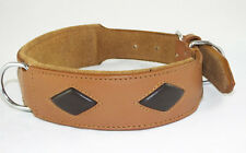 Tan With Brown Diamond Shape Staffy Dog Collar Staffordshire Bull Terrier Collar
