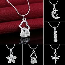 Charm Womens Silver Crystal Wedding Flower Heart Dragonfly Pendant Necklace Gift