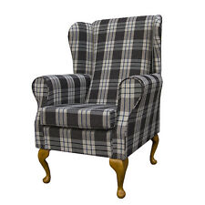 WINGBACK FIRESIDE CHAIR IN A KINTYRE CHARCOAL TARTAN FABRIC