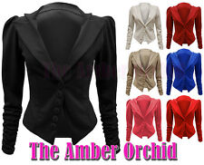 NEW LADIES RUCHED LONG SLEEVE BUTTON UP BLAZER WOMENS JACKET SIZES 8 10 12 14