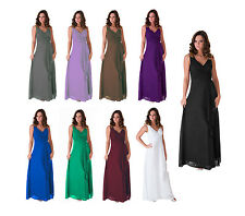 Formal Dress Bridesmaid Wedding Party V-Neck Full Length Long Evening Gown
