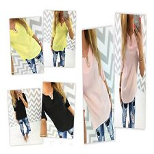 New Women V-Neck T Shirt Short Sleeve Pure Color Cotton Casual Top Blouse Tee