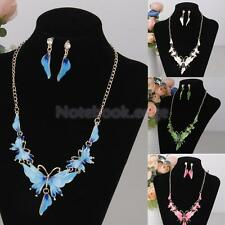 Women Alloy Enamel Butterfly Pendant Choker Chain Necklace Earrings Jewelry Set