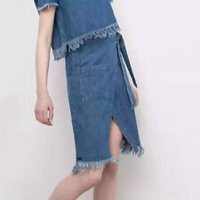 New Womens Ladies Sexy Blue Pocket Denim Jean Tassels Split Mini Skirt