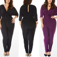 Women V Neck Tunic Plus Size Club Wear Overall Sexy Trousers Rompers Jumpsuit