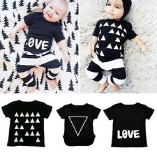 2X Baby Toddler Outfits Short Sleeve Stripe Tops T Shirt Pants Trousers Print OP