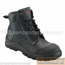 Worktough 82SM Black Leather Safety Work Boots Scuff Toe Cap Steel Mid Sole S3