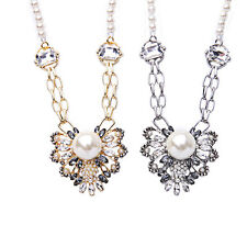 Pave Pearls & Crystals Butterfly Pendant Necklace with Faux Pearls Beaded Chain
