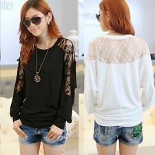 Loose Crew Neck Batwing Dolman Sleeve Floral Lace Women T-shirt Top Tee Stretch