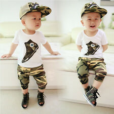2PC Kids Baby Toddler Boys camouflage short sleeve T-shirt Tops + shorts clothes