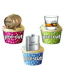 Fathers Day Whiskey Themed - Fun Fully Edible Cup Cake Toppers Decorations