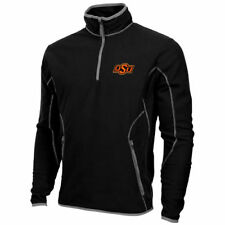 Mens Oklahoma State Cowboys Antigua Black Ice Quarter-Zip Fleece Jacket