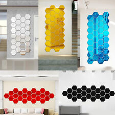 Pro 10Pcs Waterproof Geometric Mirror Bedroom Wall Sticker Vinyl Art Decal Decor