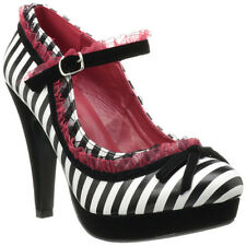 "PINUP COUTURE BETTIE-18 4 1/2"" Heel, Platform Mary Jane Pump Lace Trim Bow Tie"