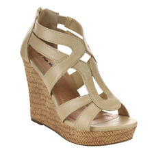 Top Moda CC35 Women's Strappy Caged Back Zipper Platform Wedge Sandals