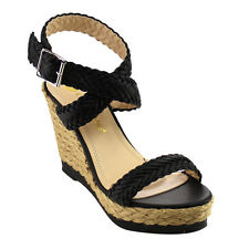 Chase & Chloe CE38 Women's Platform Espadrilles Braided Strap Wedge Sandals