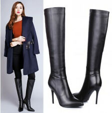Fashion Knee High Boot Womens Stilettos High Heel Pointy Toe Cow Leather Shoes