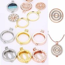 Charm 35MM DIY Round Crystal Floating Locket Pendant Necklace Charms Women Gift