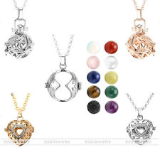 Natural Gems Bead Silver/Gold Hollow Cage Locket Wrapped Pendant Chain Necklace
