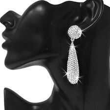 "3"" LONG Silver Gold OR BLACK Pave Crystal Cz Chandelier Dangle Hip Hop Earrings"