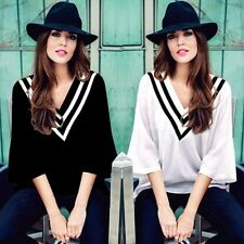 Korean Fashion Womens Casual  Striped V Neck Plus Size T Shirt Loose Blouse Tops