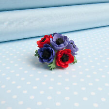ANEMONE posy BROOCH  red or pink colourway  Hand-painted in Wales,UK