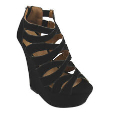 BAMBOO SKYLINE-26M Women's Peep Toe Platform Cut Out Caged Wedge Sandals