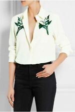 New Womens Ladies Floral Embroidered Button Down Shirt Blouse Tops