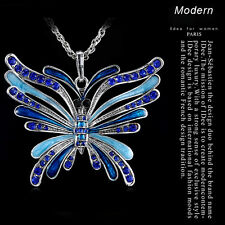 2017 Huge Butterfly Crystal Rhinestone Pendant 6Color Sweater Chain Bib Necklace