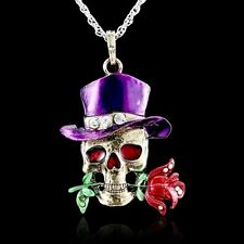 Handmade Retro Skull Flower Pendant Crystal Sweater Silver Chain Long Necklace