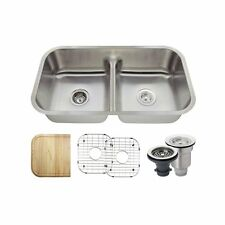 MR Direct 512 Half Divide Stainless Steel Kitchen Sink, Cutting Board, Two Grids