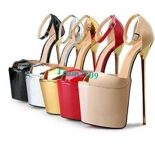 New Women Super High Heel Pump Platform Peep Toe Sexy Sandals Shoes Plus Size