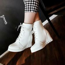 New Hot womens Retro Lace up hidden wedge heel ankle boots Korea shoes US4-11