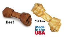 "Flavor Basted 5.5"" USA Made Rawhide Dog Bones Choose Beef or Chicken Bulk Too!"