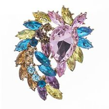 "Cool Bridal Flower Brooch Broach Pin 2.7"" Austrian Crystals Pendant Jewelry 4993"