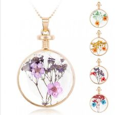 Real Dried  Flowers Round Glass Current Bottle Necklace Pressed Flower Jewellery