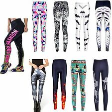 Womens 3D Graphic Print Punk Casual Stretchy Skinny Pencil Tight Leggings Pants