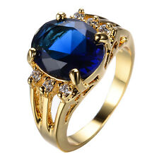 Size 6-10 Blue Sapphire Crystal Ring 10KT Yellow Gold Filled Wedding Engagement