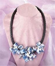 FLOWER SHELL PENDANT LEATHER NECKLACE CRYSTAL BEADED ACCENTS-GORGEOUS!! 2 COLORS