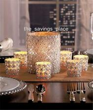 SPARKLING SILVER GEMS GLASS PILLAR OR  VOTIVE CANDLEHOLDERS HOME DECOR-DAZZLING!