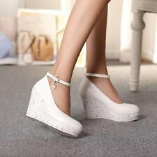 Womens Ladies Platform Wedge High Heels Pumps Creepers Shoes Ankle Strap A00589